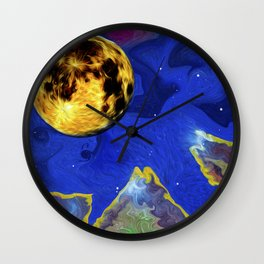 Full Moon on an Alien Horizon. Wall Clock