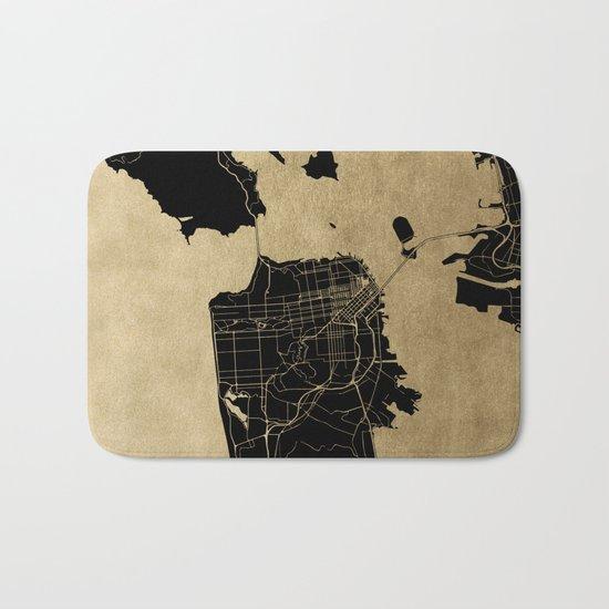 San Francisco California Black and Gold Map Bath Mat