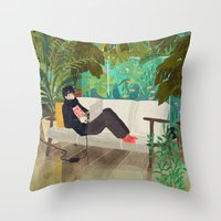 jungle Throw Pillows featuring jungle by Lara Paulussen