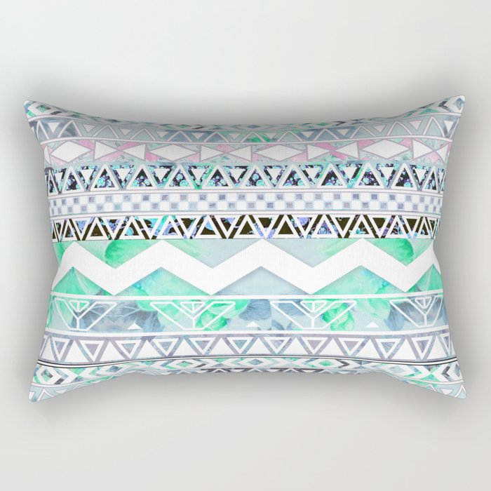 Teal Girly Floral White Abstract Aztec Pattern Rectangular Pillow