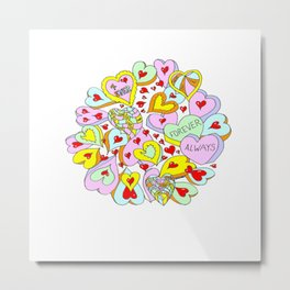 Hearts Galore Metal Print