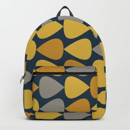 Plectrum Pattern in Mustard Yellow, Gray, and Navy Blue Backpack