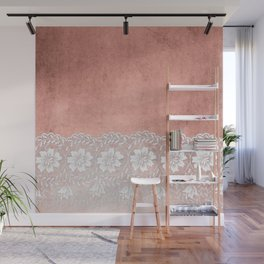 White floral luxury lace on pink rosegold grunge backround Wall Mural