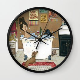 Wieners in the Tub Wall Clock