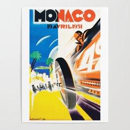 Grand Prix Monaco, 1931, vintage poster Poster