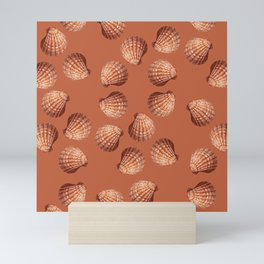Orange big Clam pattern Illustration design Mini Art Print