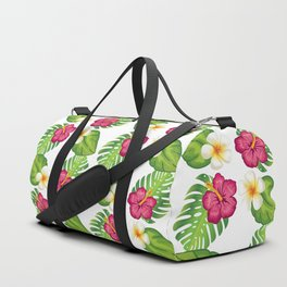 Tropical Flowers and Leaves Duffle Bag
