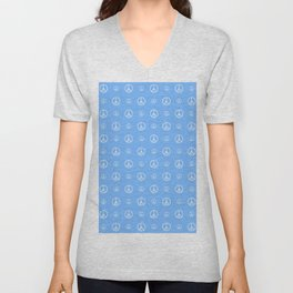 Peace and love 4 - blue Unisex V-Neck