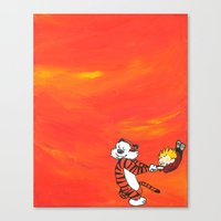 calvin hobbes Canvas Prints featuring Calvin & Hobbes Dancing - Orange by Always Add Color