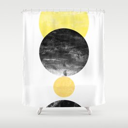 Geller - modern minimal abstract painting white and black gold foil glitter sparkle hipster trendy  Shower Curtain