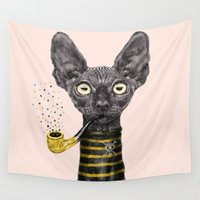 black cat Wall Tapestries featuring Black Cat by dogooder