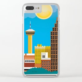 San Antonio, Texas - Skyline Illustration by Loose Petals Clear iPhone Case