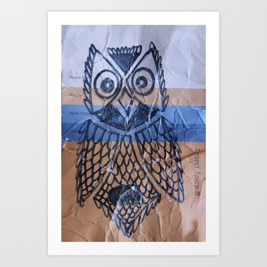 orange owl Art Print