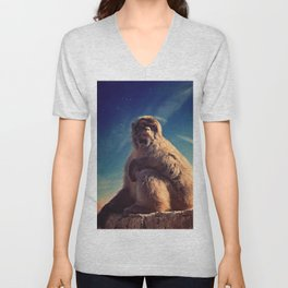 Daydreaming Macaque Unisex V-Neck