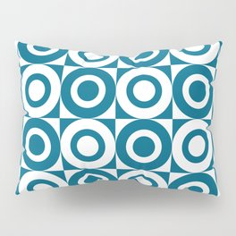 Mid Century Square and Circle Pattern 541 Peacock Blue Pillow Sham