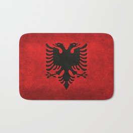 Albanian Flag in Vintage Retro Style Bath Mat