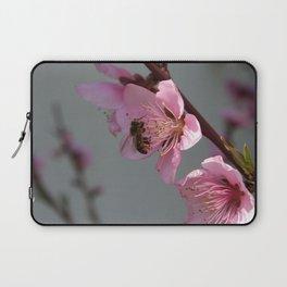 Honey Bee Feeding on Peach Tree Blossom Laptop Sleeve