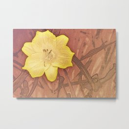 Yellow Day Lily Stencil on Sandstone Metal Print