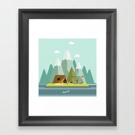 Mountain campfire Framed Art Print
