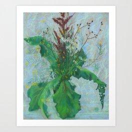 Burdock leaves and autumn herbs Art Print