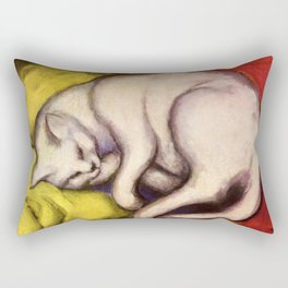 "Franz Marc ""The white cat on the yellow pillow"" Rectangular Pillow"