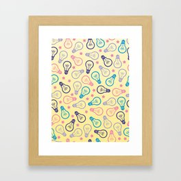 Cute Pastels Light bulb Pattern Framed Art Print