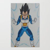 vegeta Canvas Prints featuring Prince Vegeta by bmeow