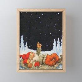 """Under the Stars"" Gnomes by Jenny Nystrom Framed Mini Art Print"