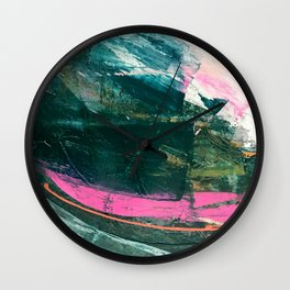 Meditate [3]: a vibrant, colorful abstract piece in bright green, teal, pink, orange, and white Wall Clock