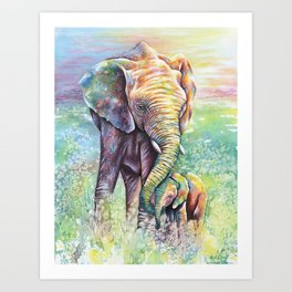 Colorful Mother Elephant and Baby Art Print