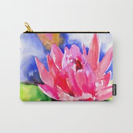 Lotus Flower, pink lotus Asian ink art, pink blue lily pod, waterlily flower Carry-All Pouch