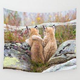 Lynx kittens - sister love Wall Tapestry