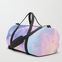 Pastel Purple Lilac Fluffy Fantasy Fairytale Sunset Clouds In The Sky Duffle Bag