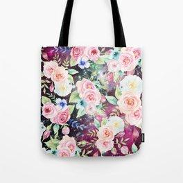 Blush pink watercolor elegant roses floral nebula Tote Bag