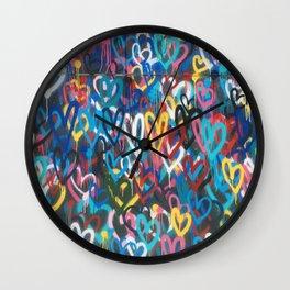 Love Hearts Abstract Graffiti Street Art Wall Clock