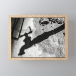Black and white faucet Photography Framed Mini Art Print