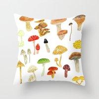 mushrooms Throw Pillows featuring Mushrooms by Lara Paulussen