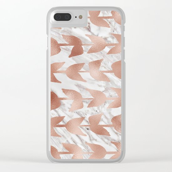 Rose gold vines on marble Clear iPhone Case