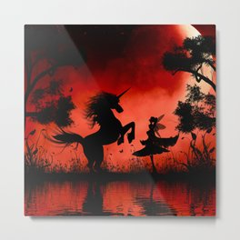 Little fairy with unicorn in the night Metal Print