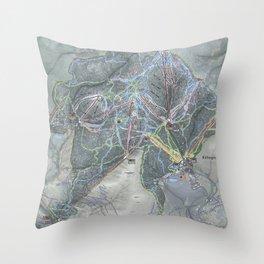 Killington Resort Trail Map Throw Pillow