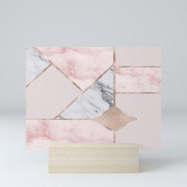 Geometric mix up - rose gold Mini Art Print