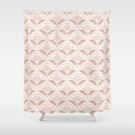 boho vibes scallop pattern brown Shower Curtain