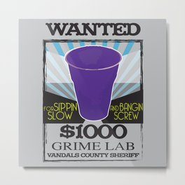 Wanted Purple Cup Metal Print