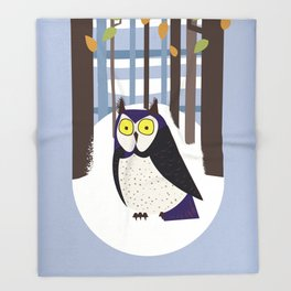 Owl in the Forest Throw Blanket