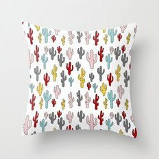 Colorful Cactus Pattern Throw Pillow