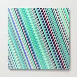 Diagonal  summer stripes Metal Print