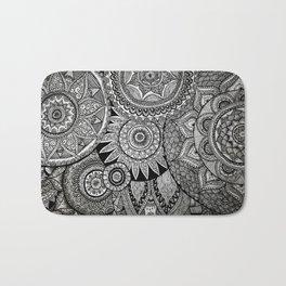 Black Graphic Mandala Pattern Bath Mat