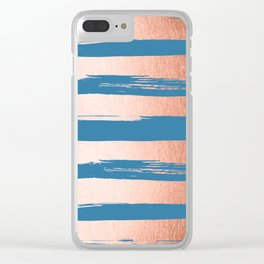 Trendy Stripes Sweet Peach Coral Pink + Saltwater Taffy Teal Clear iPhone Case