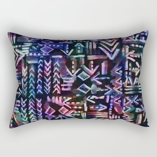 Tapa Tribal Black Rectangular Pillow