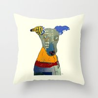 greyhound Throw Pillows featuring kacy (greyhound  by bri.buckley